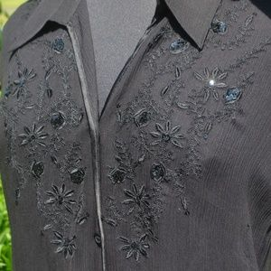 Avenue 26/28 Sequin Embroidered Sheer Blouse